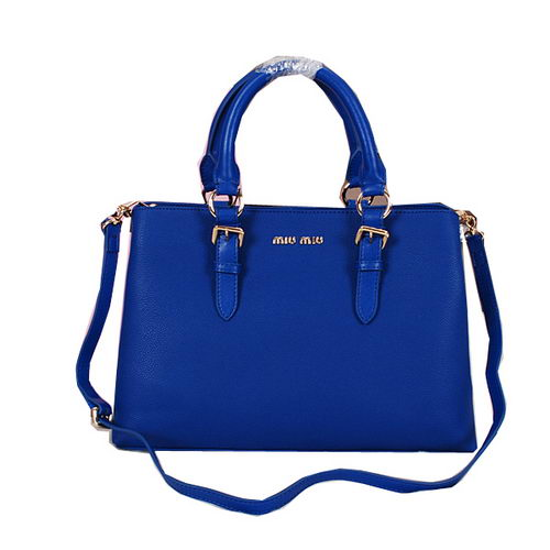 miu miu Grainy Leather Tote Bag 88111 Blue