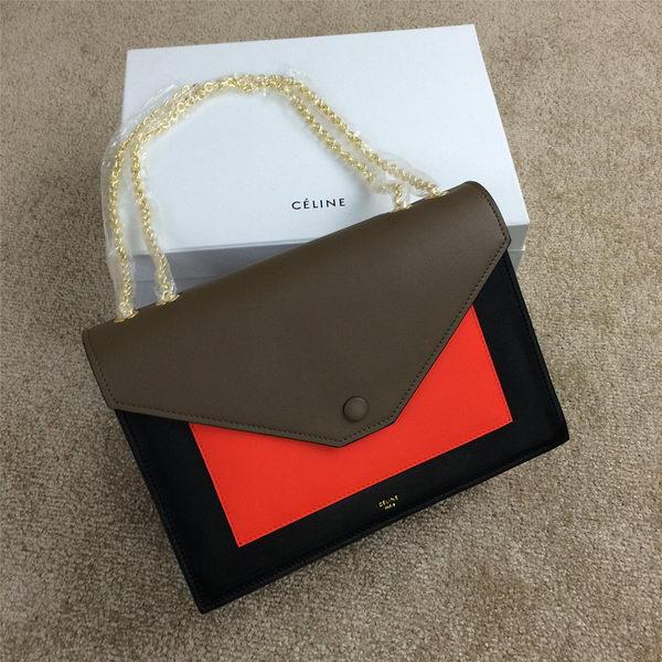 Celine Pocket Handbag Seashell Smooth Calfskin 175383 Black&Orange&Khaki