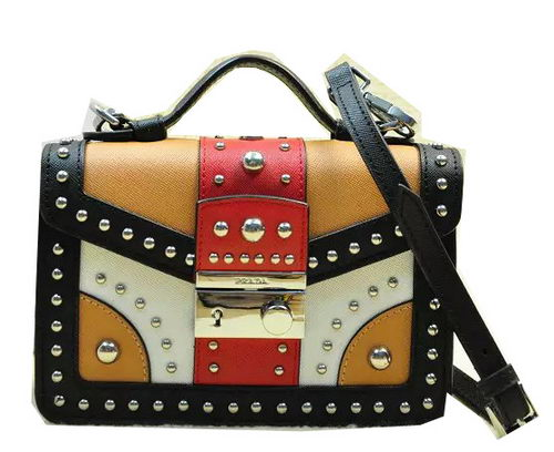 Prada Saffiano Leather Flap Bag BN0969 Black&White&Apricot&Red