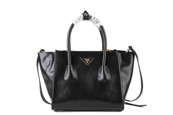 Prada Shiny Calf Leather Tote Bag BN2625 Black
