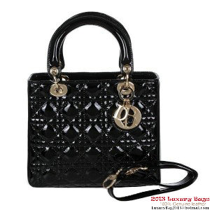 Lady Dior Bag mini Bag D9601 Black Patent Leather Gold