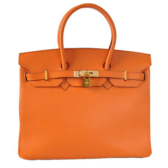 Hermes Birkin 35CM Tote Bags Togo Leather Orange Golden
