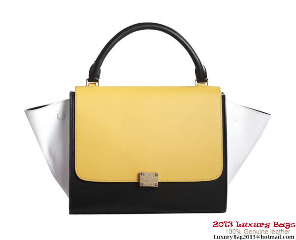 Celine Trapeze Top Handle Bag Original Leather C3342 Yellow&White&Black