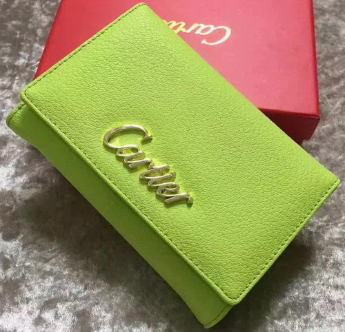 Cartier Sheepskin Leather Tri-Fold Wallet 22331 Green