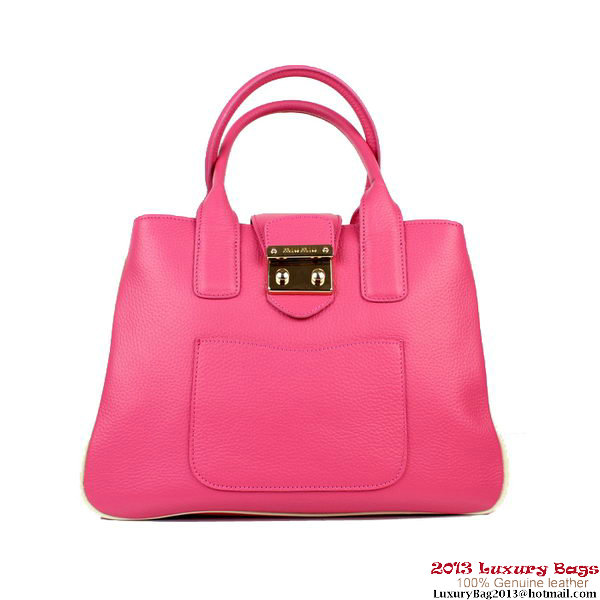 miu miu Calfskin Leather Tote Bag M88078 Rose