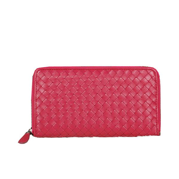 Bottega Veneta Intrecciato Nappa Zip Around Wallet BV20017 Rose