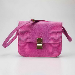 Celine Classic Lizard Pattern Box Large Flap Bag 80077 Pink