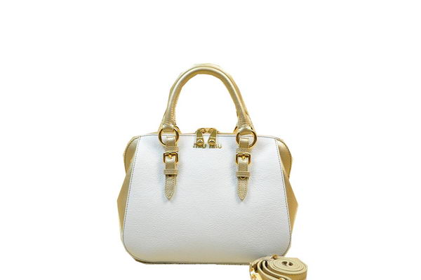 miu miu Pebble-Finish Madras Goat Leather Top-handle Bag RL0062 Gold