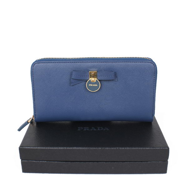Prada Saffiano Leather Bow Zippy Wallet 1M0506T RoyalBlue