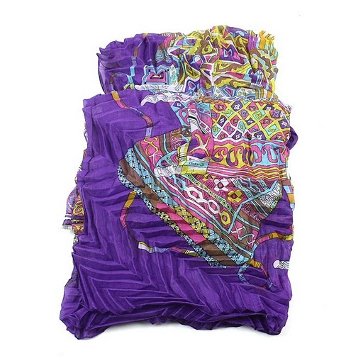 Hermes Silk Wrinkle Scarf Purple