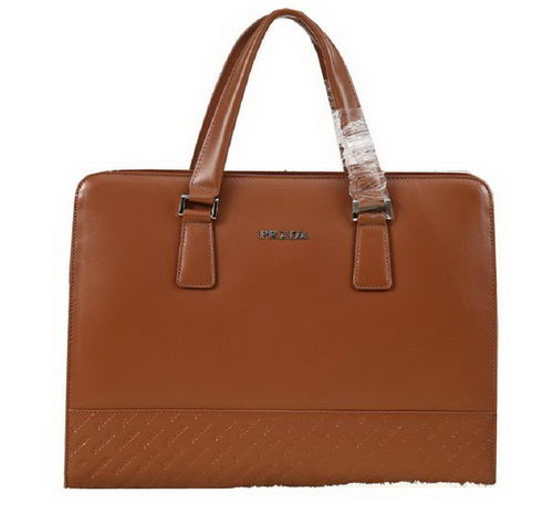 PRADA Smooth Leather Business Briefcase G8548 Wheat
