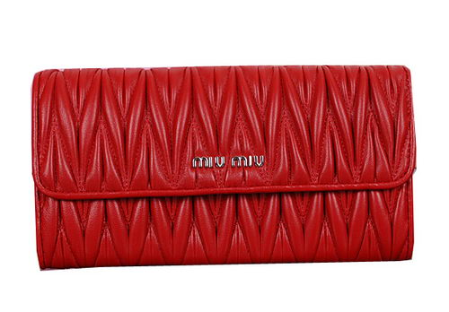 miu miu Matelasse Original Sheepskin Leather Wallet 5M1035 Red