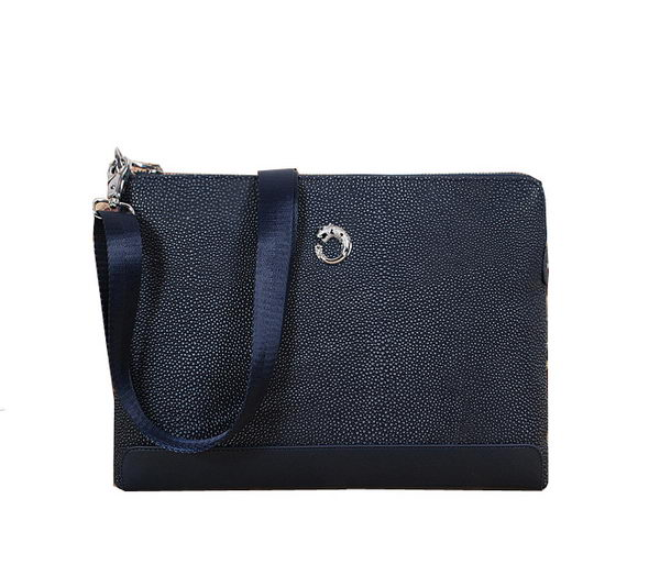 Cartier Pearl Leather Messenger Bag 11901-4 Blue
