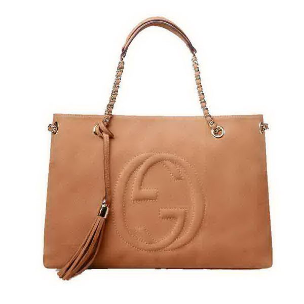 Gucci Soho Medium Tote Bag Suede Leather 308982 Apricot