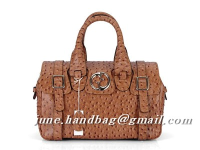 Gucci Ostrich Veins Luggage Bag 241118 Light Coffee