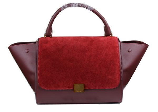 Celine Trapeze Bag Suede Leather C3342 Burgundy&Maroon