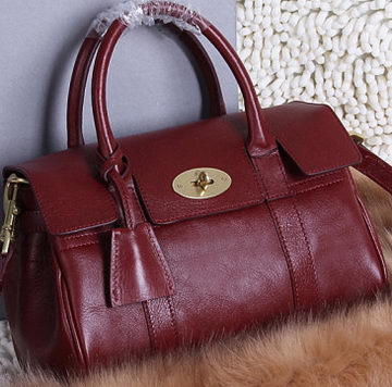 Mulberry Bayswater Small Tote Bag Natural Leather 5988S Burgundy