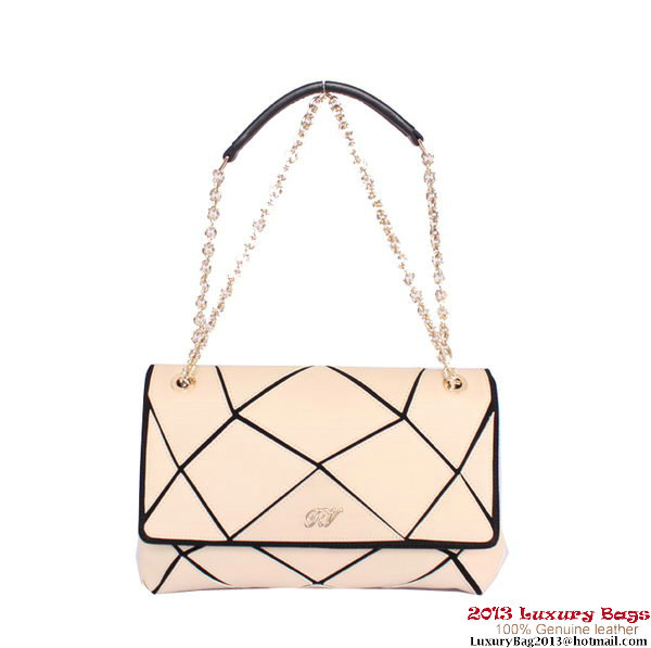 ROGER VIVIER Prismick Medium Calskin Leather Bag RV3608 Apricot