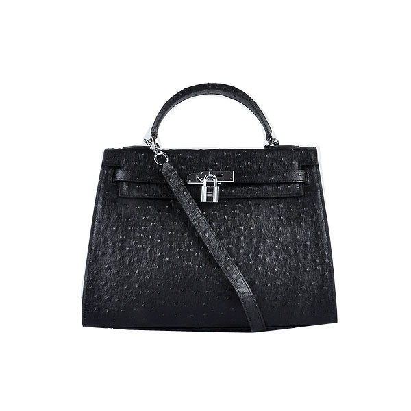 Hermes Kelly 32cm Shoulder Bags Black Ostrich Leather Silver