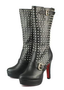 Christian Louboutin Marisa Sheepskin Red Sole Boots Black