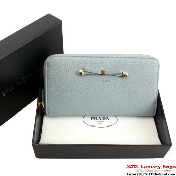 Prada Saffiano Leather Bow Zippy Wallet 1M0507 Light Blue