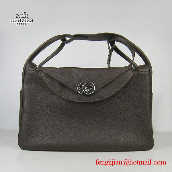 Hermes Women Shoulder Bag Dark Coffee 6208
