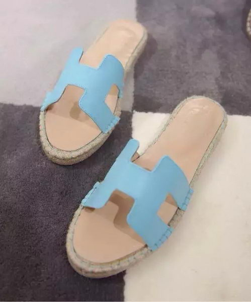 Hermes Slipper Sheepskin Leather HO0413 Light Blue