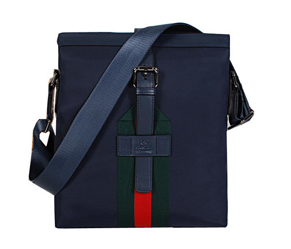 Gucci Calf Leather & Canvas Messenger Bag 83585 Blue