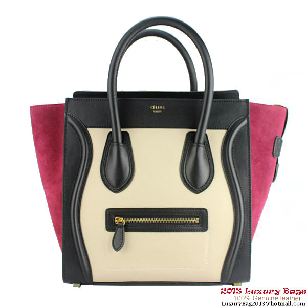 Celine Luggage Mini Bag Suede C88022 Apricot&Black&Peach