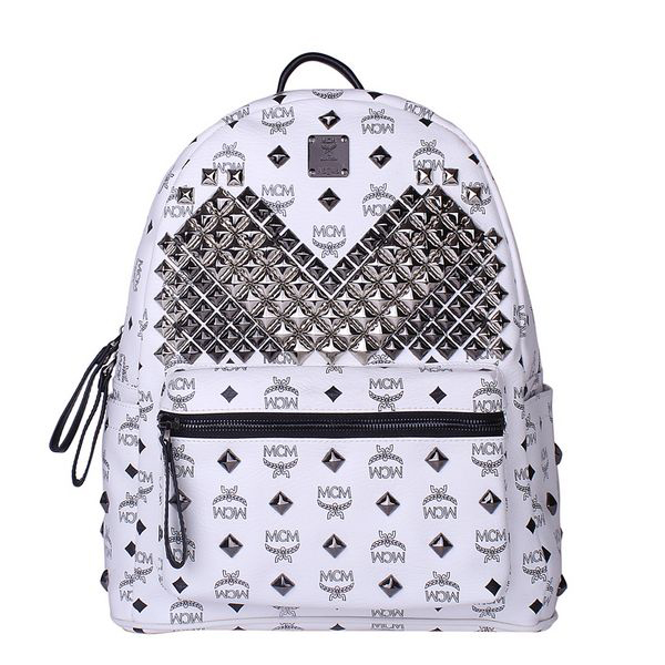 MCM Medium Stark Front Studs Backpack MC4238 White