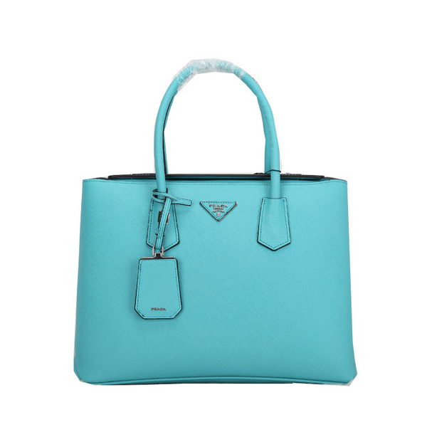 Prada Twin Original Saffiano Leather Cuir Tote Bag BN2635 Light Blue