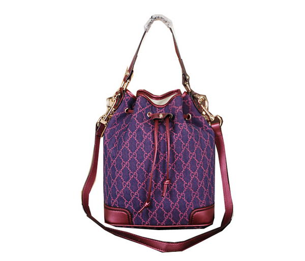 Gucci GG Drawstring Sling Shoulder Handbag 197019 Rose&Purple