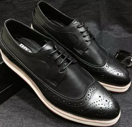 Prada Men Casual Shoes Calfskin Leather PD377 Black