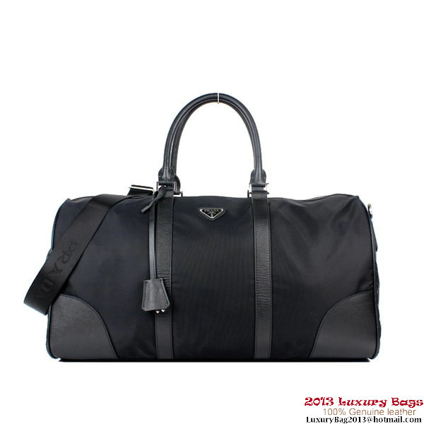 PRADA Fabric and Calf Leather Travel Bag VS0350 Black