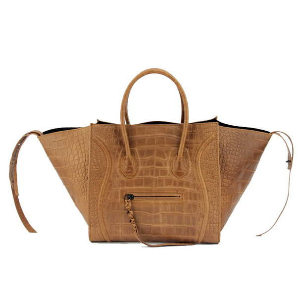 Celine Luggage Phantom Square Bags Crocodile Leather 80078 Camel