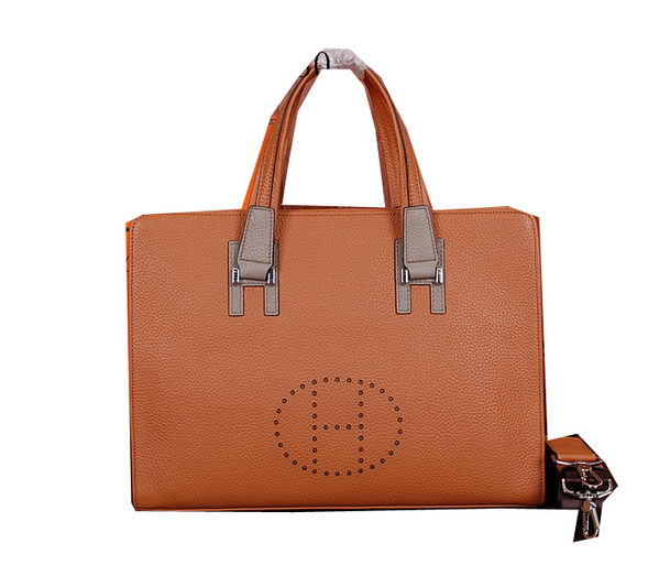 Hermes Briefcase Grainy Calf Leather H66031 Wheat