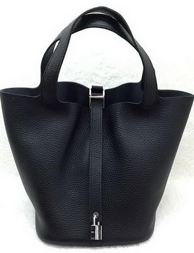 Hermes Picotin Lock 22cm Bags Litchi Leather HPL1048 Black