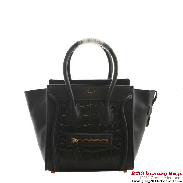 Celine Luggage Micro Boston Bag Croco Leather 98167 Black