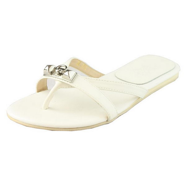Hermes Sheepskin Leather Flip Flops H095 White