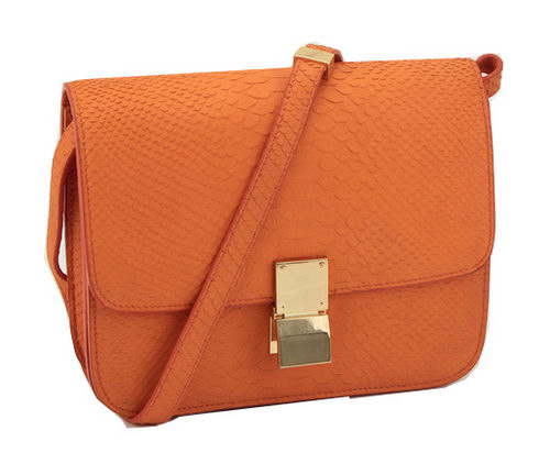 Celine Classic Box Small Flap Bag Original Snake Leather 11042 Orange