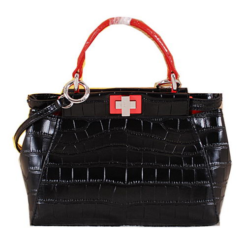 Fendi mini Icoic Peekaboo Bag Croco Leather F6033 Black