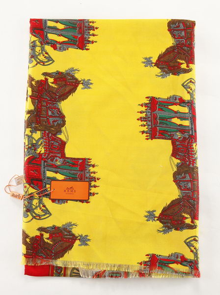 Hermes Scarves Cashmere HE6714 Yellow