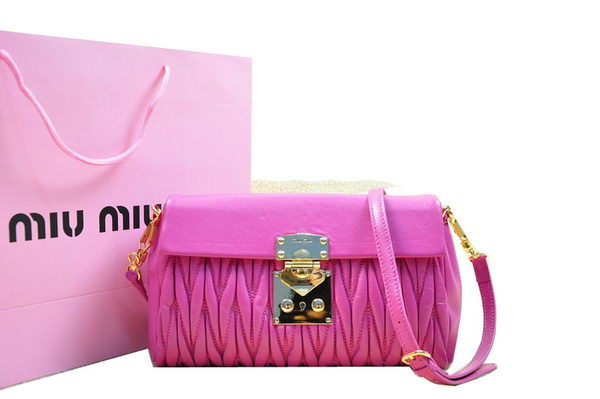 miu miu Matelasse Lambskin Leather Shoulder Flap Bag RT0555 Rose