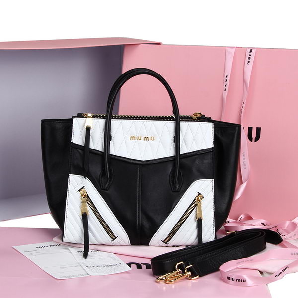 miu miu Smooth Nappa Leather Top Handle Bag RN6886 Black&White