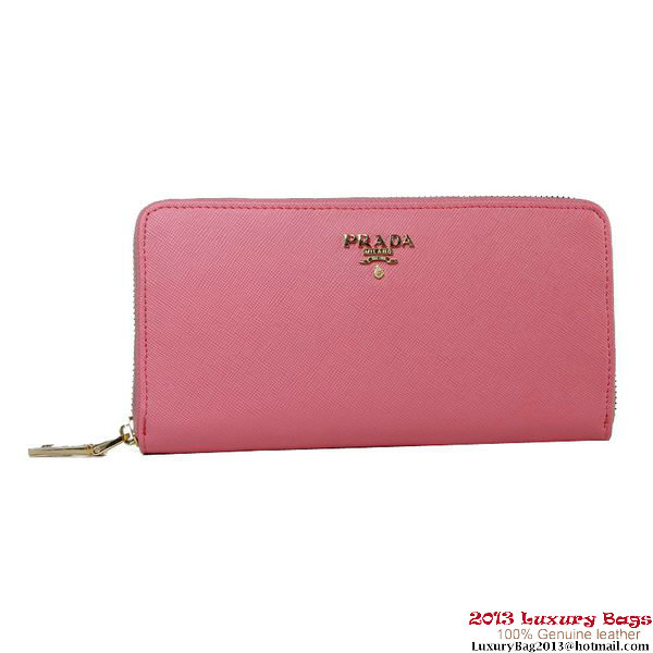 Prada Saffiano Calf Leather Wallet 1M1136 Dark Pink