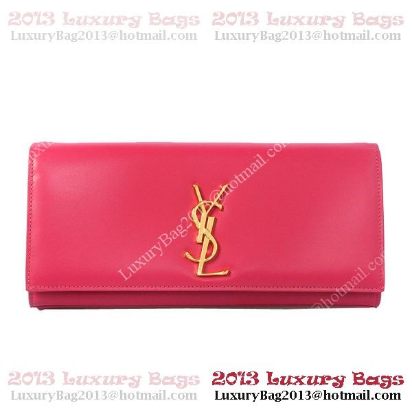 YSL Classic Monogramme Saint Laurent Clutch Bag in Rose Leather