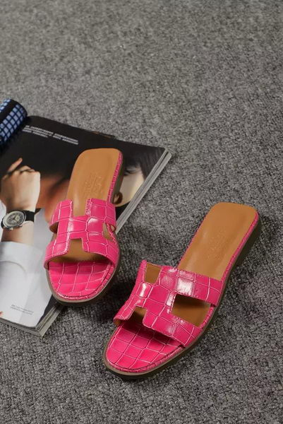 Hermes Slipper Croco Leather HO0451 Rose