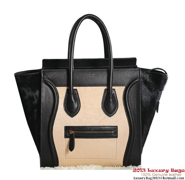Celine Luggage Mini Boston Tote Bags Horsehair Black&Apricot