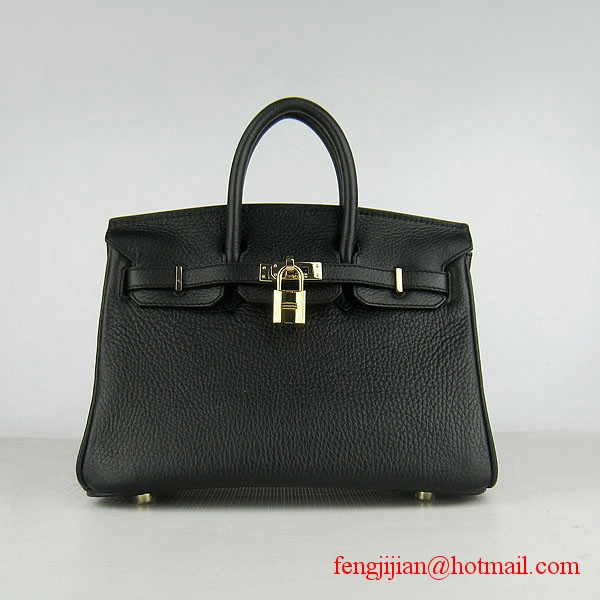 Hermes Birkin 25cm Togo Leather Handbag 6068 Black Gold Palladium Hardware
