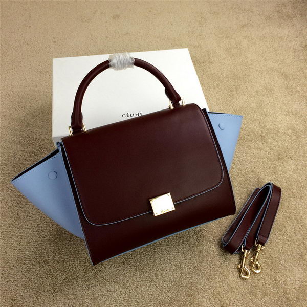 Celine mini Trapeze Bag Original Leather CL005 Burgundy&SkyBlue